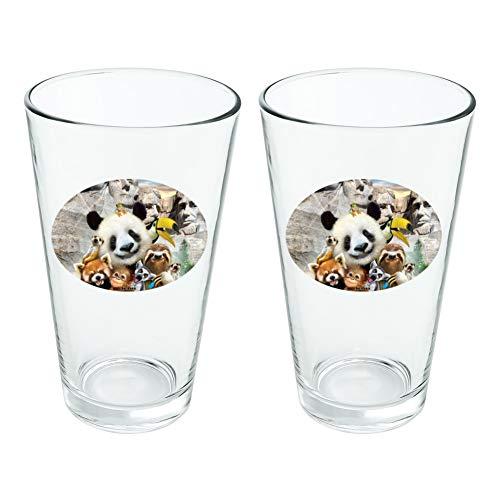 Plat MT. Rushmore National Memorial du Dakota du Sud Panda paresseux fantaisie 453,6 gram Pinte à boire en verre trempé Lot de 2
