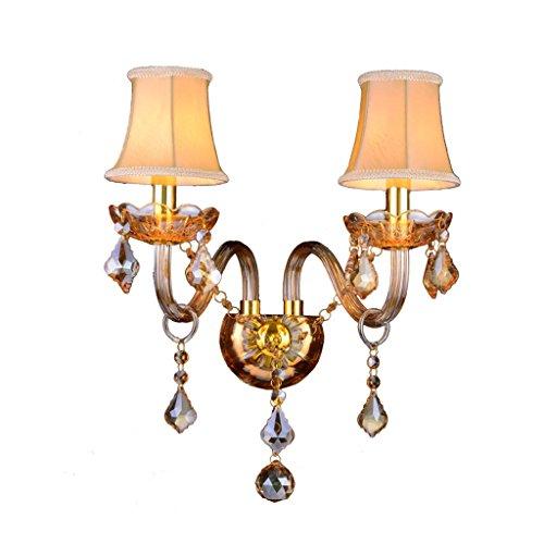 JILAN HOME- Applique Européenne Ambre Bougie Cristal Double-Tête D'éclairage Chambre Chevet Hôtel Passage Balcon E14 Mur Lumière wall lamp