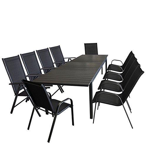 11tlg. Sitzgarnitur Sitzgruppe Gartengarnitur Gartenmöbel Terrassenmöbel Set Ausziehtisch Polywood 280/220x95cm + 6x Stapelstuhl + 4x Hochlehner, Lehne 7-fach verstellbar