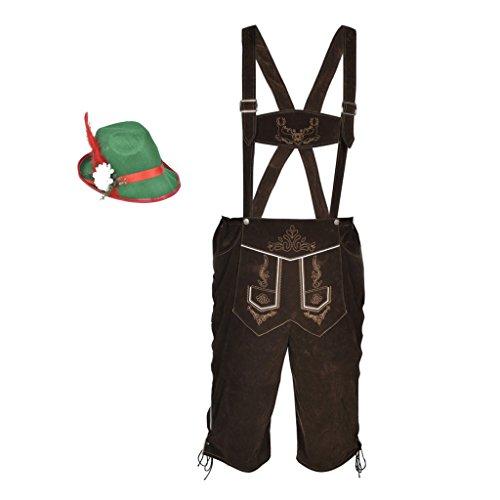 Anself Trachtenset Bayerische Trachtenhose Oktoberfest Hose Trachten H-Träger mit Hut (Kostüme Hosenträgern Männer Mit)