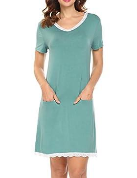 [Sponsorizzato]HOTOUCH Donna Camicia da Notte Comodo Casual Semplice Pigiami Camici Vestaglia Camicia da Notte Manica Corta Scollo...
