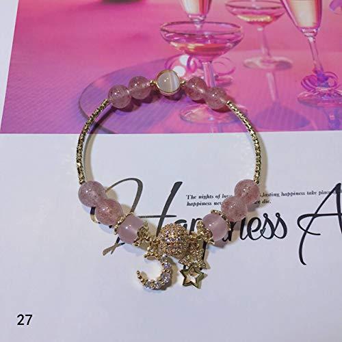 jxcssmqq Crystal Natural Morgan Stone Bracelet Healing Stone Strawberry Crystal Bracelet 27 Light Strawberry Crystal + Powder Crystal + Opal