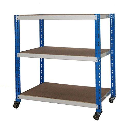 Rollregal Schwerlast 300kg, HxBxT: 90x100x60cm, 3 Böden, blau/lichtgrau (fahrbares mobiles Regal) (Szagato)