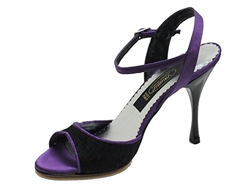 Vitiello Dance Shoes  Felipa Tango Macramè e Raso Viola, Chaussons de danse pour femme Noir Nero Noir - Macramè Nero Raso Viola