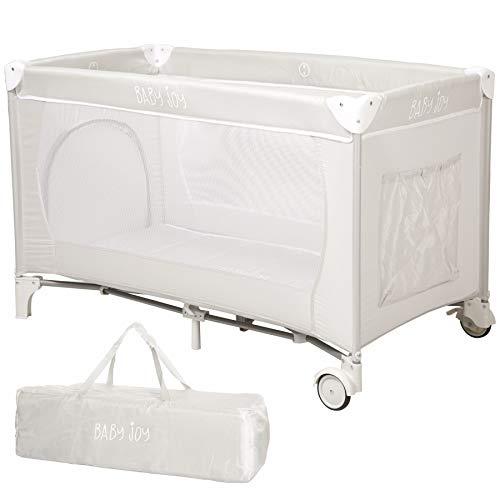 Baby Joy Portable Folding Kind Baby Große Reise Kinderbett Krippe Bett Laufstall (Grau) (Bett-schiene Reise Baby Für)