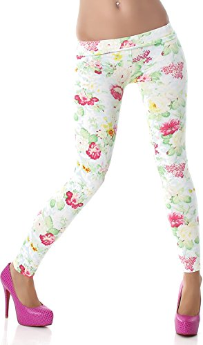 PF-Fashion Damen Leggings Leggins Body Slim Hose Karotte Lang Design Tapered Tarnmuster Blumen Batik Türkis (Karotten Outfit)