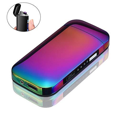 Leegoal - Mechero de Doble Arco Recargable por USB, Pantalla de batería LED, sin Llama y Resistente al Viento, Ideal para Cigarrillos, Velas y Deportes al Aire Libre