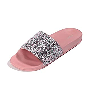 FITORY Women Sliders Glitter Sparkly Slippers Summer Flat Sandals Mules for Ladies Indoor/Outdoor Size 3-8 Pink