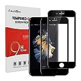 Lanhiem Verre Trempé Compatible avec iPhone 6S / iPhone 6, [Couverture Complète] [Garantie à Vie] Film Protection écran en Verre Trempé Ultra Résistant Dureté 9H, [2 pièces] Noir