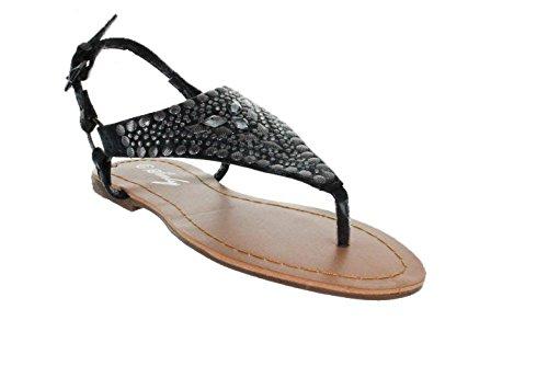 Sinly - Sandale Plate, En Triangle, Revêtît De Strass - Femme Noir