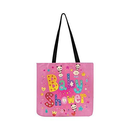 Baby-Dusche-Karte Cute Panda Bears Canvas Tote Handtasche Schultertasche Crossbody Taschen Geldbörsen für Männer und Frauen Einkaufstasche