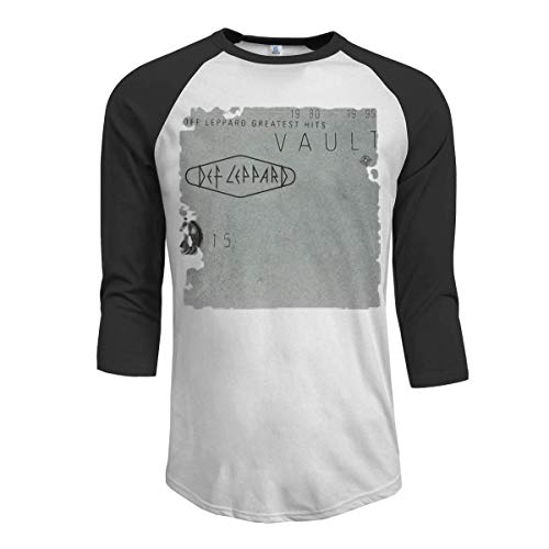 Aysselt Def Leppard Vault Def Leppard Men's 3/4 Sleeve Raglan Baseball T Shirt Black,Black,Small