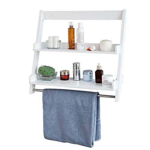 SoBuy® FRG117-W Wandregal,Handtuchhalter,Badregal zur Wandmontage mit 2 Ablagen und einer Stange Weiß
