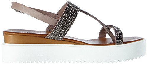 Inuovo 6080, Sandales  Bout ouvert femme Gris (Grey Lea/Grey Strass)