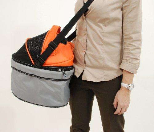 PetEGO QPIL OG Pod ILove Luxus Fahrradtasche für ans Lenkrad, orange/grau