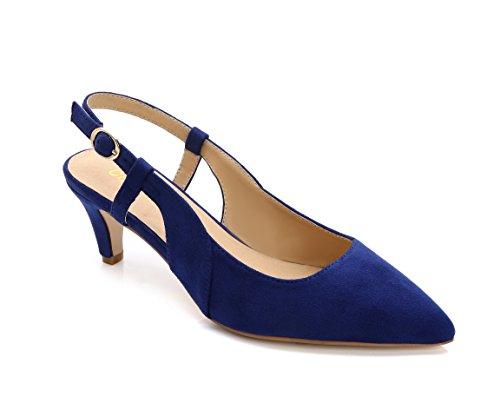 ComeShun Damen Schuhe Slingback Kitten Heels Kleid Court Pumpen Schuhe, Blau - Blue Suede - Größe: 42 (Heel Schuhe Kitten Kleid)