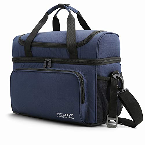 Tourit Große Lunch Kühltasche, isolierte Kühler Tote Lunch Box zwei isolierte Fach Weich Kühltasche 22L für Männer Frauen, Picknick, Camping, Strand, Arbeit Large dunkelblau -