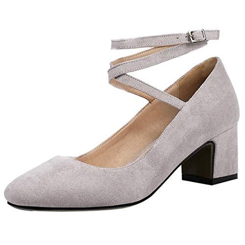 JYshoes Knöchelriemchen Pumps mit Riemchen Blockabsatz High Heels Samt Schuhe Damen Absatz 5cm Lavendel 41 EU - Lavendel Samt