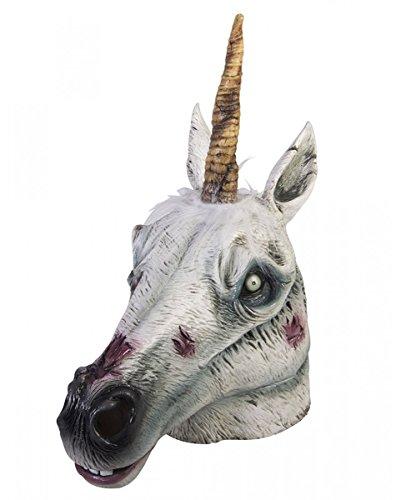 Maske als Halloween Verkleidung eines untoten Fabelwesens (Latex Einhorn Maske)
