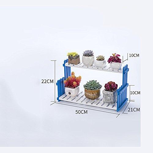 Stands extérieure Herb Plante Fleur Salon Balcon Plancher Multi-étage Fleur Rack Racks en bois massif Étagères intérieures simples (couleur, taille en option) Utilisation intérieure et extérieure Style vintage ( Couleur : Bleu , taille : 50 cm )