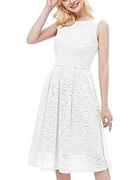 bridesmay Damen Elegant Cocktailkleid Spitzen Ärmellos Brautjungfern Kleid Midi Ballkleid