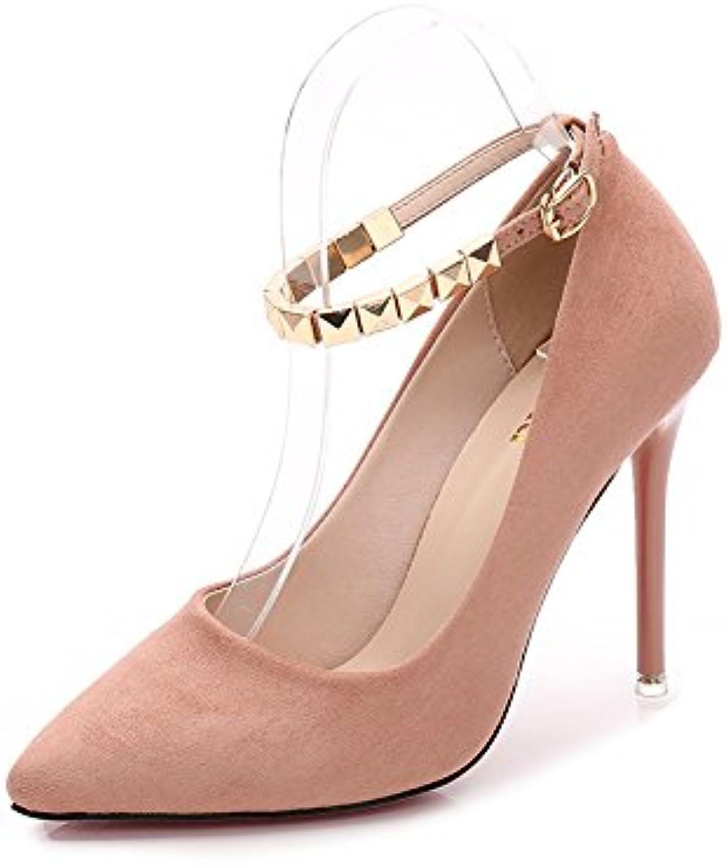 Jqdyl High Heels Fashion Pointed Nieten Rear Strap Frauen Wild Damenschuhe