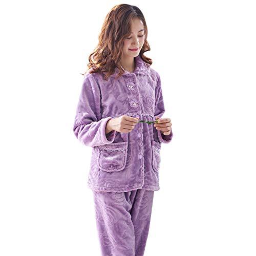 Camicie da notte pigiama signore inverno pigiameria viola corallo velluto set di ispessimento di grandi dimensioni sciolto homedressing a due pezzi pigiami due pezzi