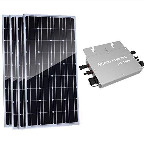 AUECOOR 4 Stück 100 W Solar Panel 400 W Solar System Photovoltaic monokristalline Solarpanel Kit mit 600 W reiner Sinuswelle Wechselrichter für Batterie Yacht RV Auto Boot (Solar-panels 400 Watt Mit)
