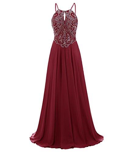 Dresstells, Robe de soirée Robe de cérémonie Robe de gala mousseline emperlée bretelles spaghetti Bordeaux