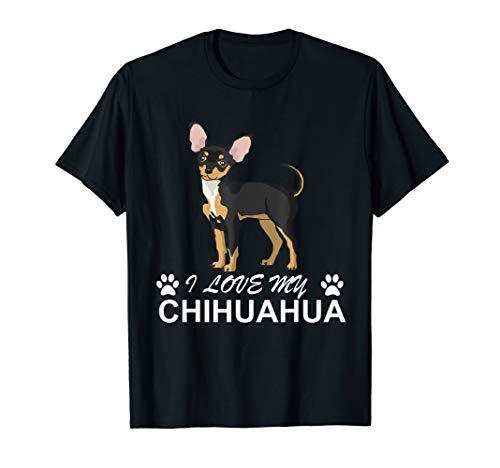 I love my Chihuahua t shirt Damen Herren Kinder - Chihuahua-schwarzes T-shirt