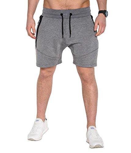 BetterStylz FreefghtBZ Sweatpant Short Pantalon de gymnase du sport Jogging Fermetures à Glissière étanches Pantalon Casual Bermuda Court div. Couleur (S-XXL) Gris Foncé