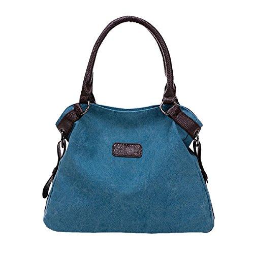 Damen-Segeltuchbeutel Kurier-Beutelschulter Große Kapazität Einfache Beiläufige Art Und Weisehandtasche Blue