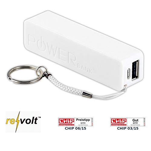 revolt Powerbank für Smartphone: Powerbank für iPhone, Handy & USB-Geräte, weiß, 2.200 mAh (Powerbank-Powerpack)