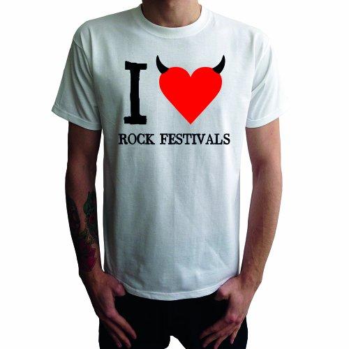 I don't love Rock Festivals Herren T-Shirt Weiß