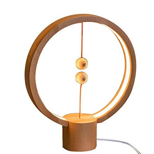 Balance Lamp, Lampe de Table LED à air magnétique LED Night Light Décor pour Chambre à Coucher, Chevet, Maison, Bureau, café-Bar, Lampe LED Warm Eye-Care 【2018 Nouvelle】 (Rond jaune clair)