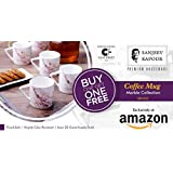 Clay Craft Sanjeev Kapoor Blush Collection Bone China Coffee Cup Set, 220ml, 2 Sets Of 6 (12 Mugs), Multicolour