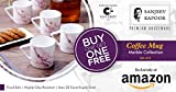 #3: Clay Craft Sanjeev Kapoor Blush Collection Bone China Coffee Cup Set, 220ml, 2 Sets of 6 (12 Mugs), Multicolour