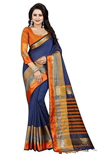 Macube Women's Latest Design Cotton Silk saree with blouse piece