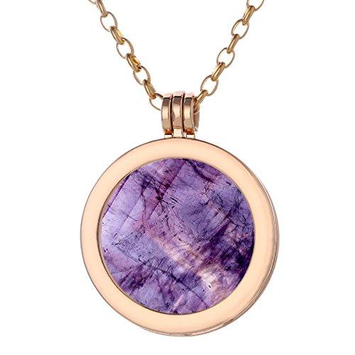 Morella Damen Halskette gold 70 cm Edelstahl und Anhänger mit Edelstein Amethyst Coin 33 mm Chakren Scheibe in Schmuckbeutel -