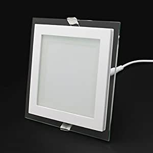 12w led panel leuchte glas eckig deckenlampe deckenleuchte. Black Bedroom Furniture Sets. Home Design Ideas
