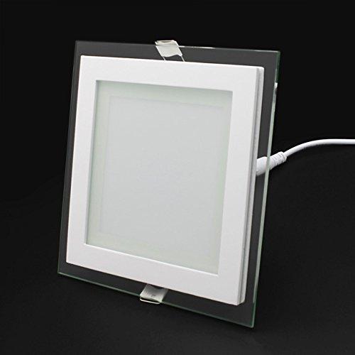 6/12/18W LED Panel Leuchte Glas Dimmbar Quadrat Deckenlampe Deckenleuchte Einbaustrahler Beleuchtung flach(12W/Nicht Dimmbar;Warmweiß)