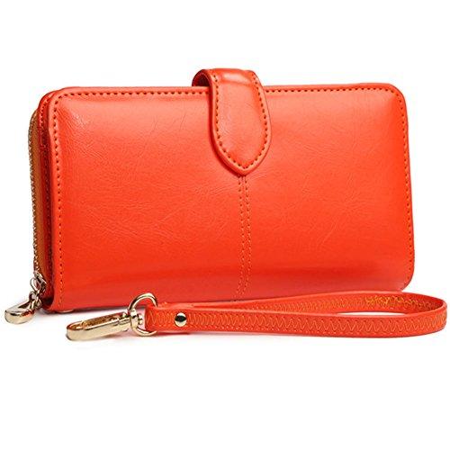 Portafoglio donna con borsa multiuso di borsa di lusso delle signore con tasca di chiusura lampo (arancione) arancia