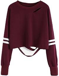 0eff72b7c45b6 Sky Mujeres Chica Hollow out Sudadera Corta Manga Larga Jumper Pullover  Tops Calado Costura Camisa de