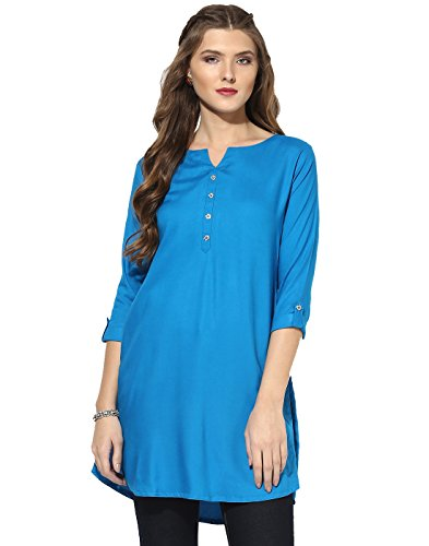 Aahwan Women's Light Blue Rayon Short Casual Kurta (AC-New-56-L)