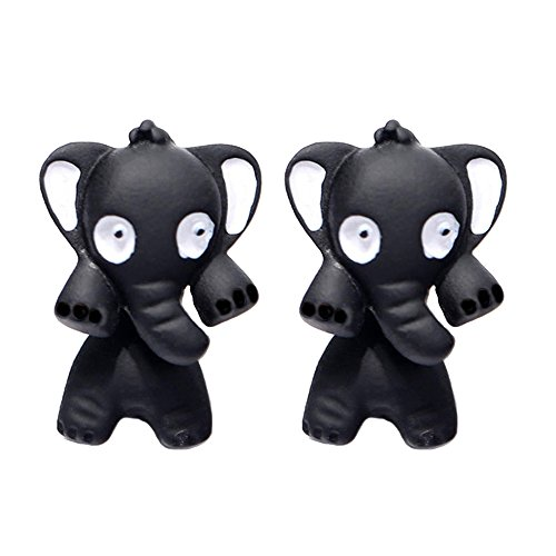 Merssavo Pendientes Animales Estereoscópicos Lindos 3D de la Arcilla del Polímero del Elefante de los Pendientes Negro
