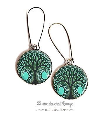 boucles d'oreilles Cabochon résine epoxy, arbre de vie, vert et bleu canard