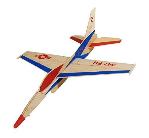 Arkai F-16 Wurfgleiter/Flitschenflieger Fliegt bis 100 Meter ! f. Kinder Werkset Bastelset