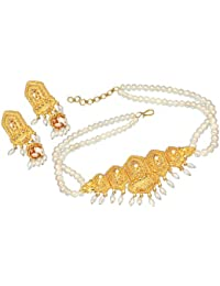 SURATDIAMOND Gold-Plated Choker Necklace for Women (White)