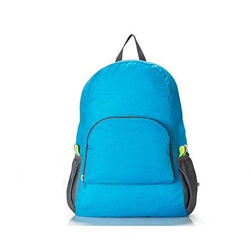 Jecxep impermeabile multifunzionale pieghevole da escursionismo e campeggio, Zaino da viaggio, grigio blu