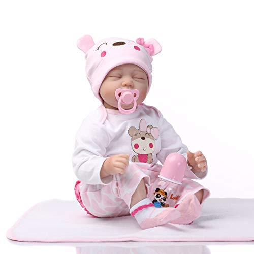CHANNIKO-DE 55cm Lovely Cute Sleeping Doll Soft Body Silicone Denim Dress Reborn Baby Doll Toy for Girls Early Education Toys